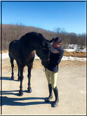 Kelly Hamlin and Corinthian's Eagle won first place in the Shiney Hiney Class. Hudson Valley Horse Show at Corinthian's Equestrian Center, March 17-18, 2018.