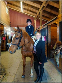 Mary Butryn, Lee Dillon, and Corinthian's Hunting For My Zipper, aka Nick all ready for the Lead Line Class. Hudson Valley Horse Show at Corinthian's Equestrian Center, March 17-18, 2018.