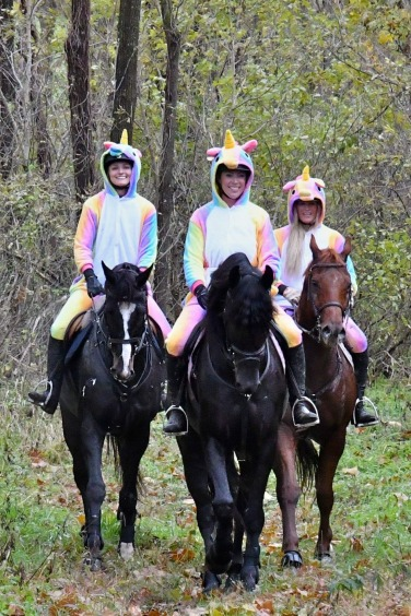 Unicorn Shenanigans! Trainer Julia with Kelly, and owner Lee. We make riding safe and fun!